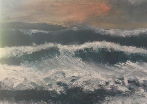 oil painting of waves